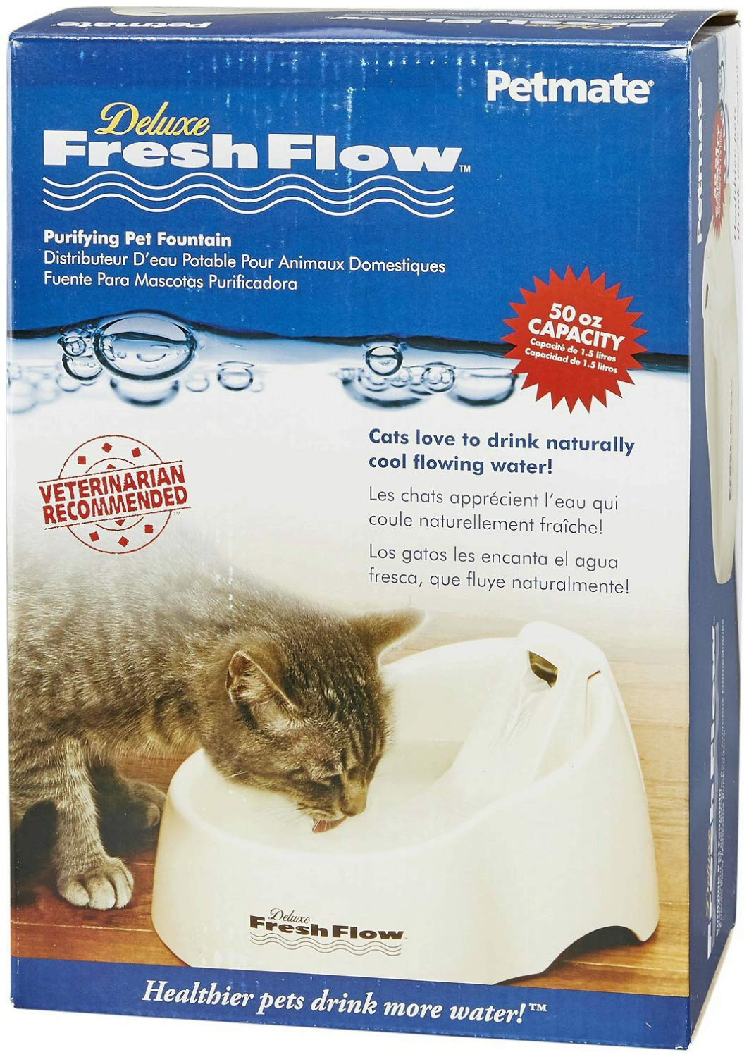 Pet Supplies : Petmate 50oz Fresh Flow Linen Cat Dog Water Fountain x2PK : Pet Self Waterers : Amazon.com