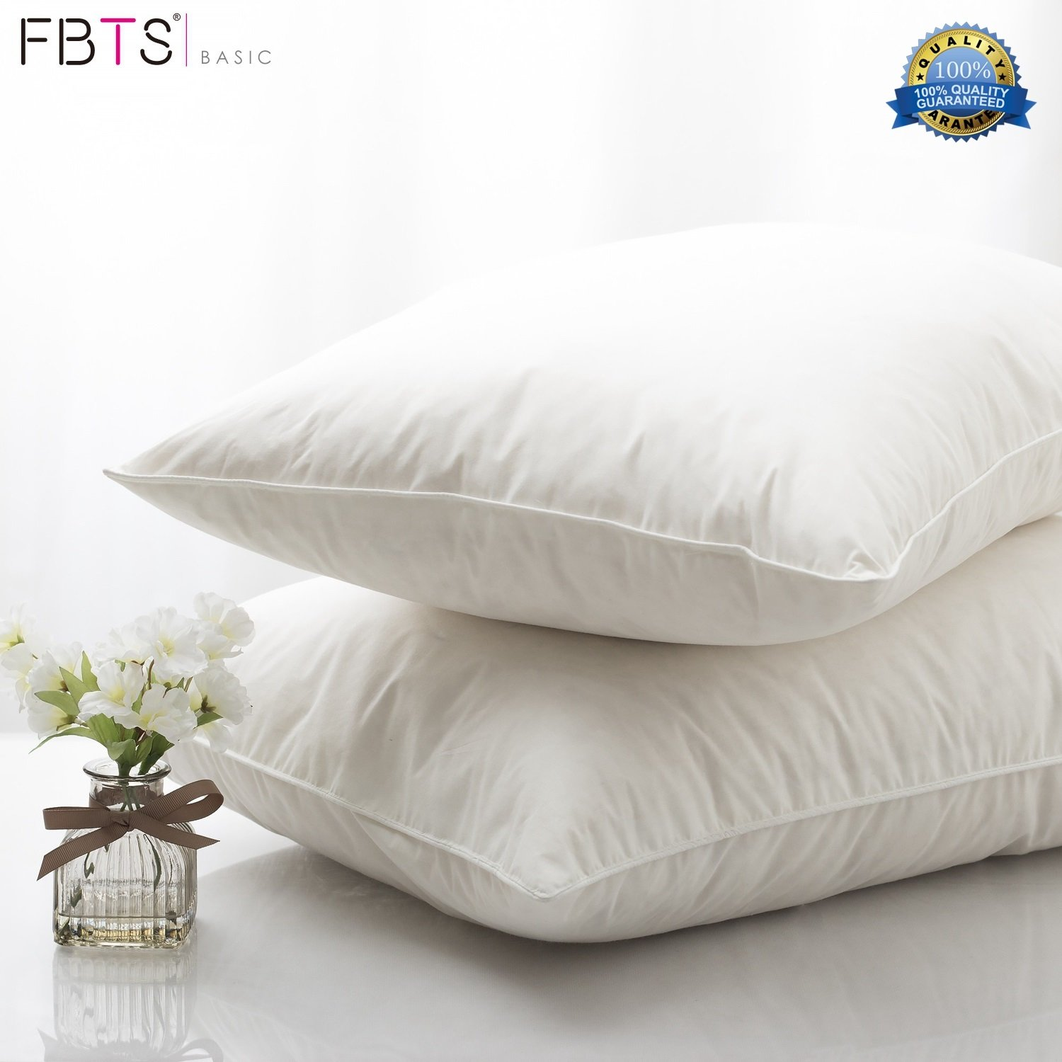 FBTS Basic 95% Feather 5% Down Pillow Insert 18 x 18 Square Sham Stuffer Premium Hypoallergenic Form Cotton Down Proof Shell Decorative Cushion Sofa and Bed Pillows Fabritones FTIN001E