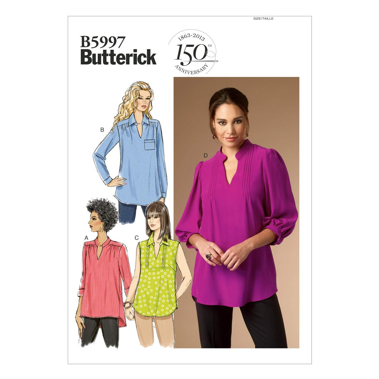 Butterick Patterns 5997 RR - Patrones de costura de blusas para mujer (tallas 46-52): Amazon.es: Hogar