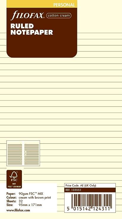 Filofax Personal - Recambio para agenda de anillas, hojas rayadas para notas, color crema