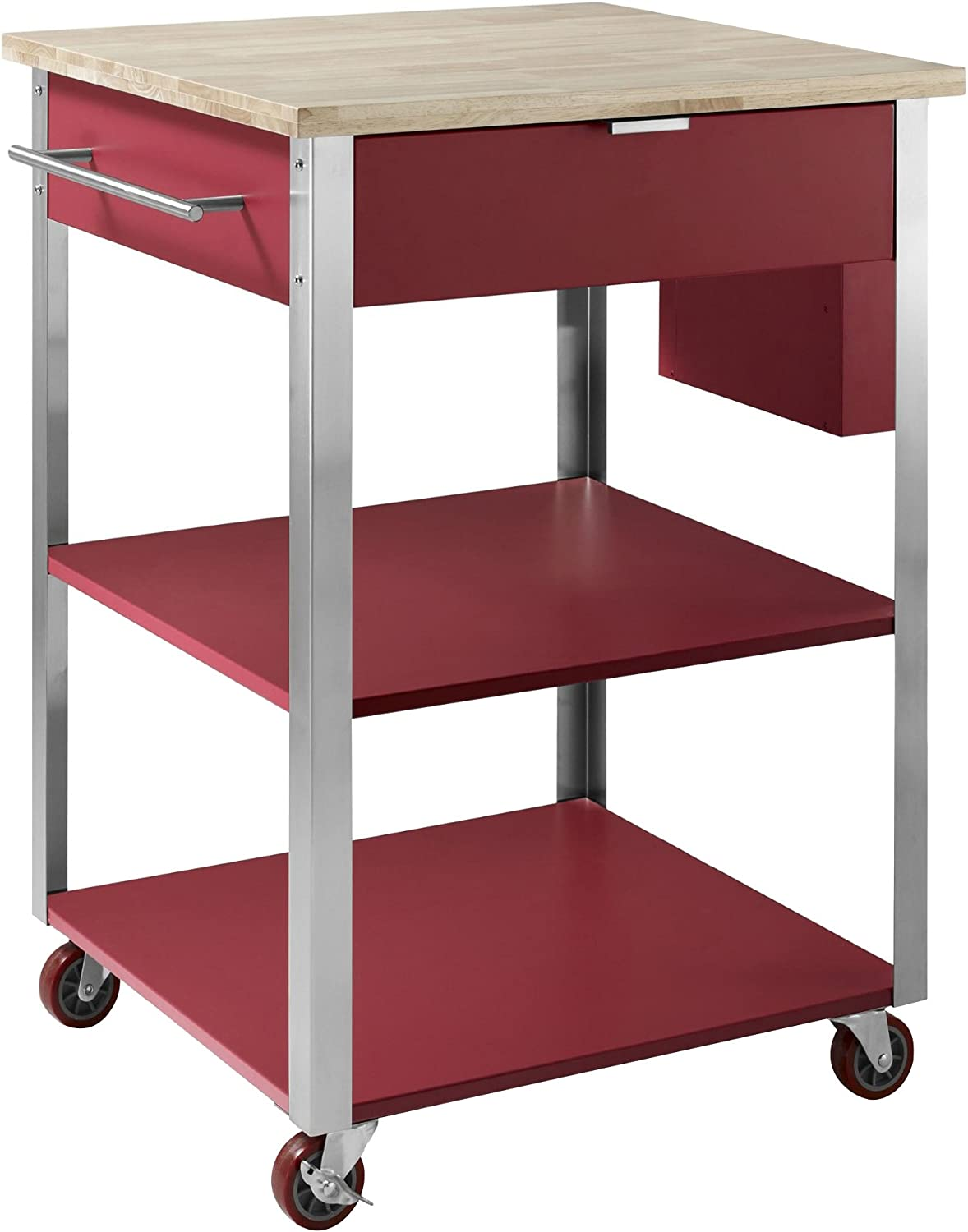 Crosley Furniture Culinary Prep Rolling Kitchen Cart - Natural/Red