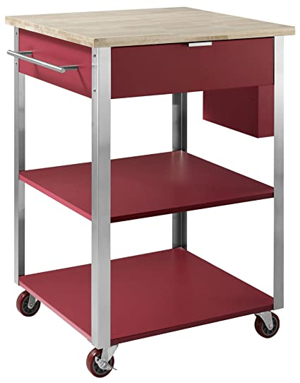 Crosley Furniture Culinary Prep Rolling Kitchen Cart   Natural/Red