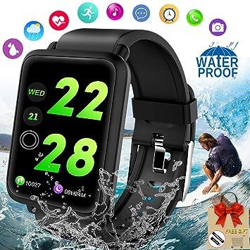 Montre Connectée, Bracelet Connecté Smartwatch Montre Podomètre Cardiofrequencemetre Montre Sport IP67 Etanche Fitness Tracker d