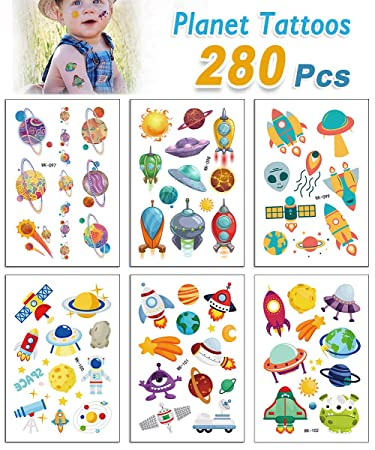 bfb734cee NASA Spaceship Alien Temporary Tattoos for Kids Boys Birthday Party (Pack  of 30 Sheets)