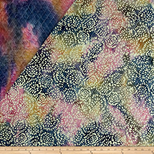 Textile Creations Double Face Quilted Indian Batik Abstract Floral Blue/Pink/Yellow Fabric by The Yard YEL