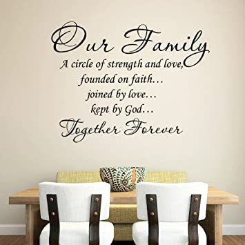 wandaufkleber schlafzimmer Wall Sticker Quotes Our Family ...