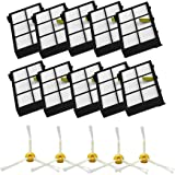 MZY LLC Side Brushes and Filters Replacement For iRobot Roomba 800 Series 870 880 Robotic Vacuum Parts-Include: 10 filters, 5 side brushes 3 armed
