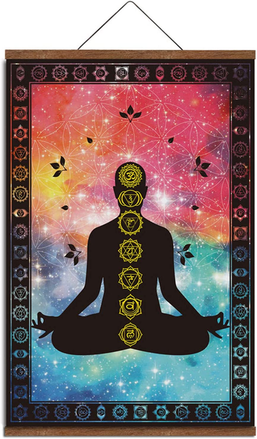 "Seven Chakra Yoga Buddha Meditation Universe Canvas Poster Wall Hanging Frame Decor 16"" x 24"""