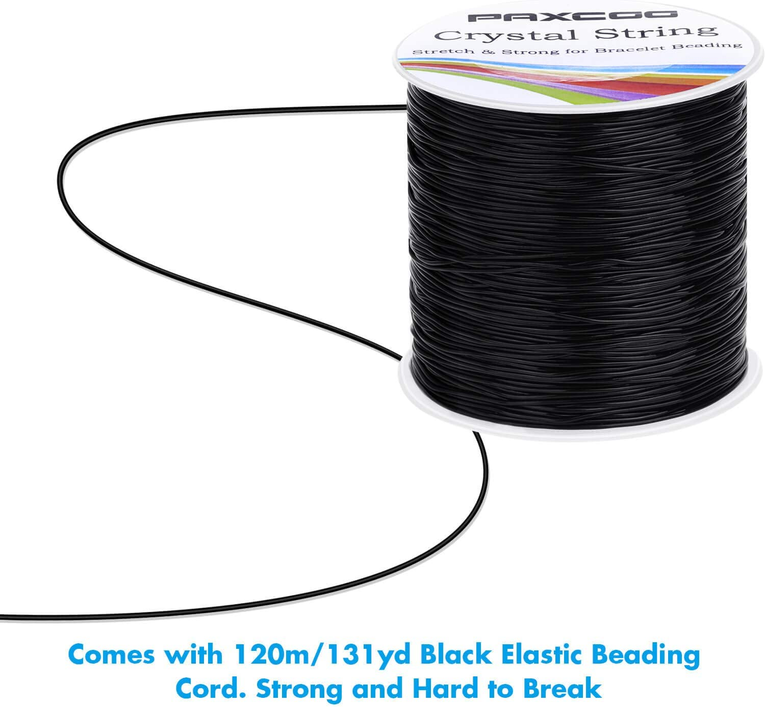 0.8mm Black Elastic String Bracelet Cord Jewelry Bead Thread for Bracelets Necklaces Paxcoo Stretchy String for Bracelets Beading and Jewelry Making