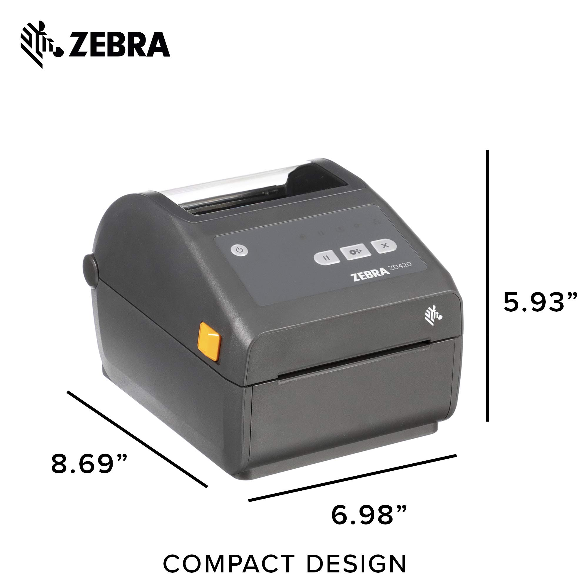 Zebra - ZD420d Direct Thermal Desktop Printer for Labels and Barcodes - Print Width 4 in - 300 dpi - Interface: USB - ZD42043-D01000EZ by Zebra Technologies (Image #6)