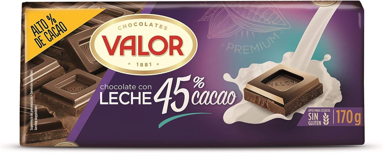 Valor, Chocolate con leche intenso 45% Cacao- 170 gr.: Amazon.es ...