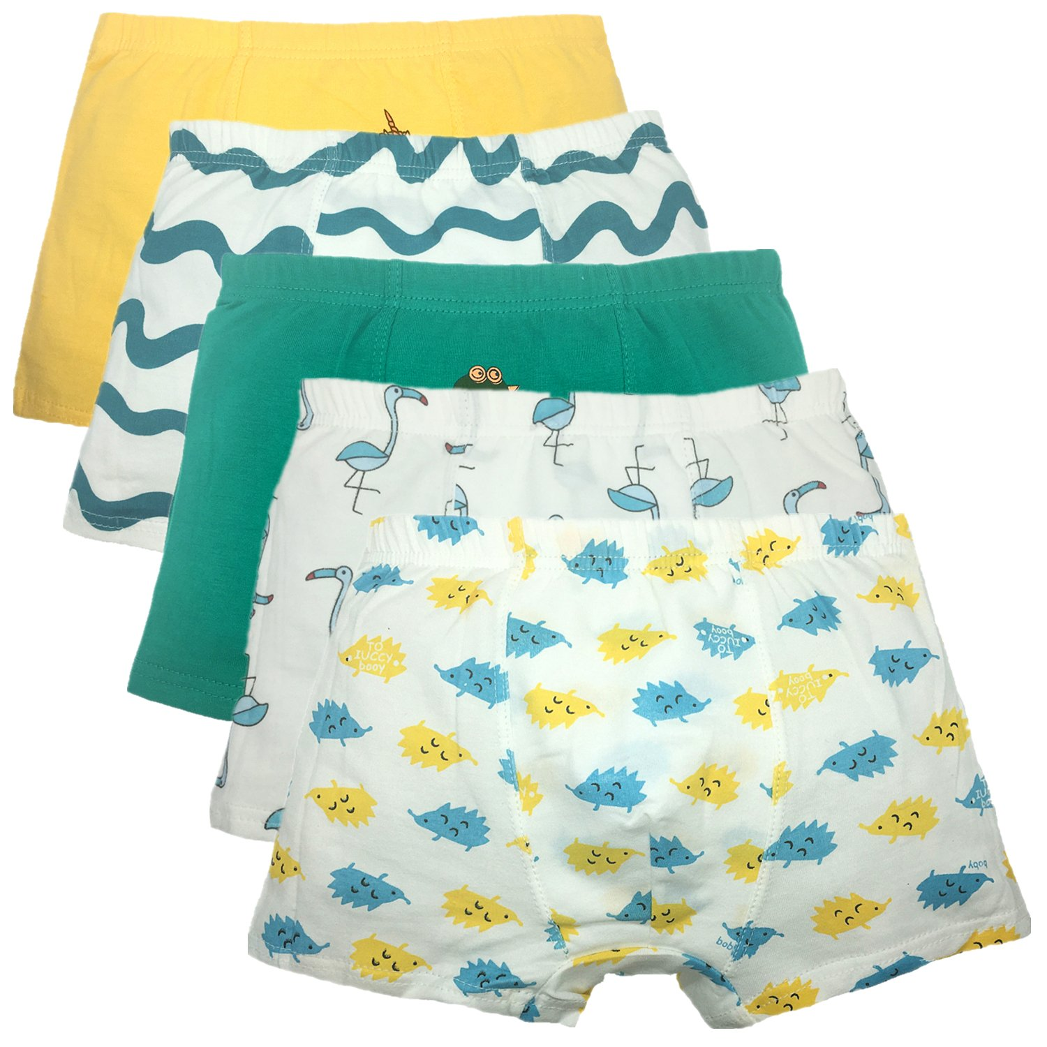 Boys Boxer Brief Comfort Soft Boxers for Kids Cotton Underwear 5 Pack (2-4 Years, A)