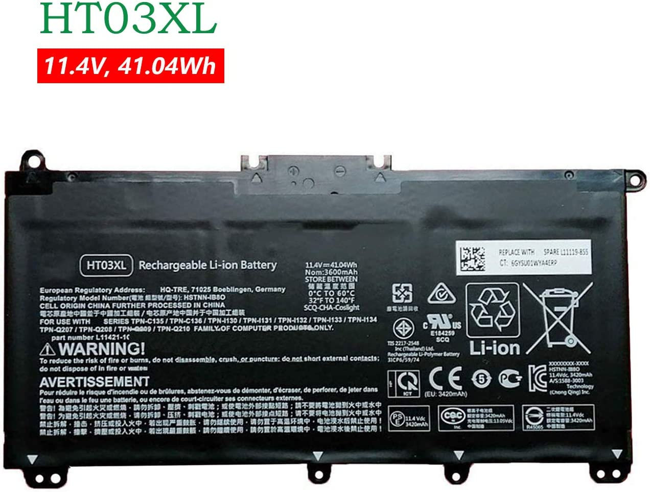 BOWEIRUI HT03XL HSTNN-IB8O L11421-1C (11.4V 41.04Wh 3600mAh) Laptop Battery Replacement for Hp Pavilion 14-CE 15-CS 15-DA 250 G7 255 G7 Series HSTNN-LB8L HSTNN-IB8OL HSTNN-DB8SL HSTNN-DB8R HSTNN-LB8M