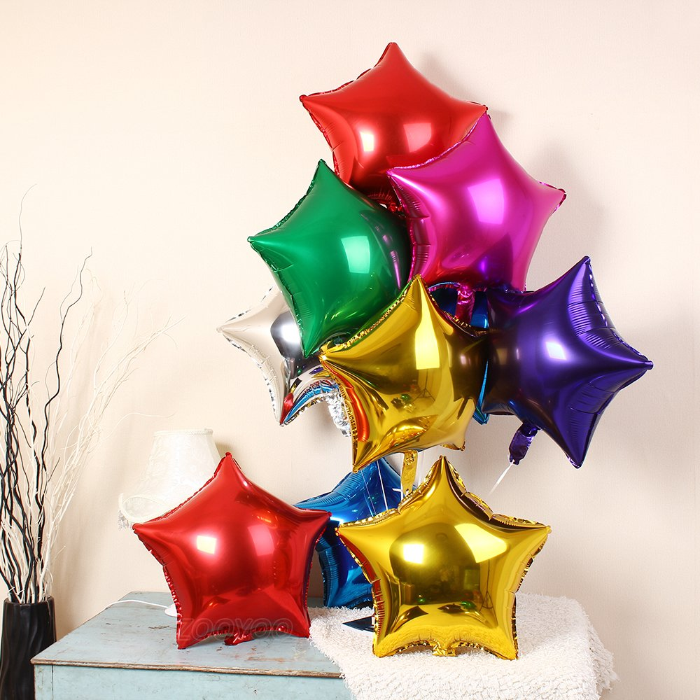 5pcs 36 Inch Gold Star Shape Foil Balloons,Mylar Balloons,Helium Balloons,Large Balloons,Party Decoration Supplies Balloons,For Wedding,Birthday,Baby//Bridal Shower,Anniversary,Graduation,Holiday
