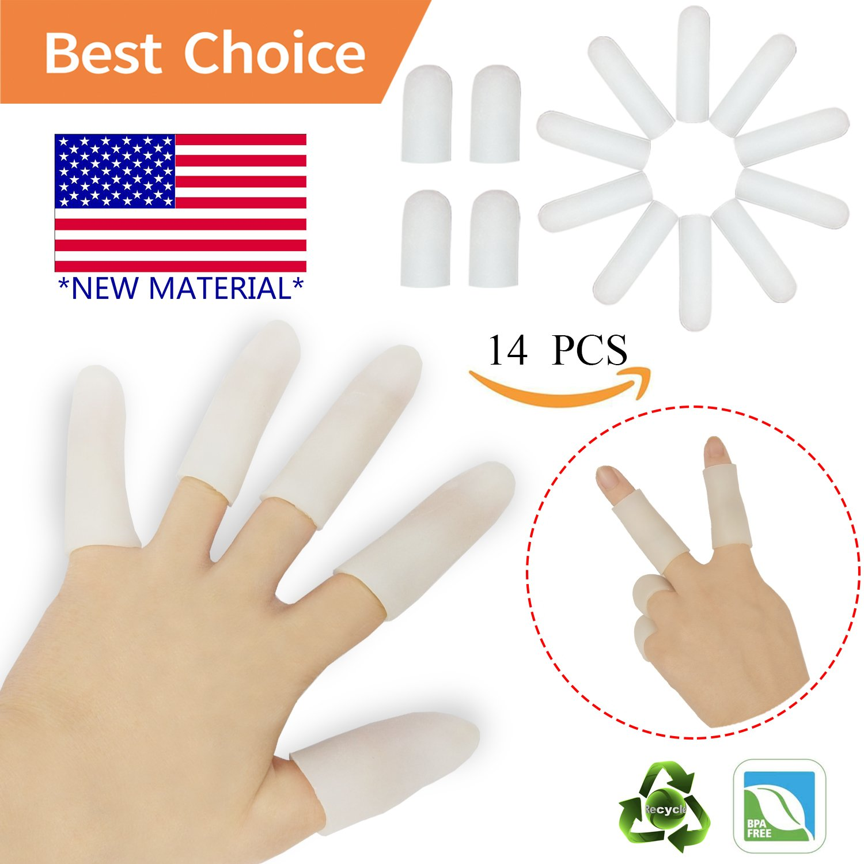Gel Finger Cots, Finger Protector Support(14 PCS) NEW MATERIAL Finger Sleeves Great for Trigger Finger, Hand Eczema, Finger Cracking, Finger Arthritis and More.(White) (Gel Finger Cot)