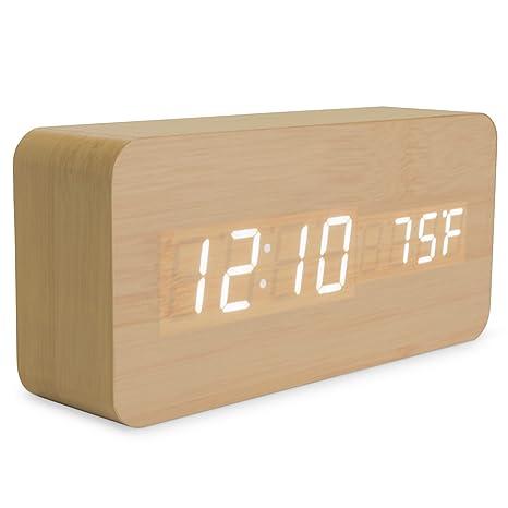 Amazon.com: Bamboo Wood Digital Alarm Clock - 3-Level White LED Time ...