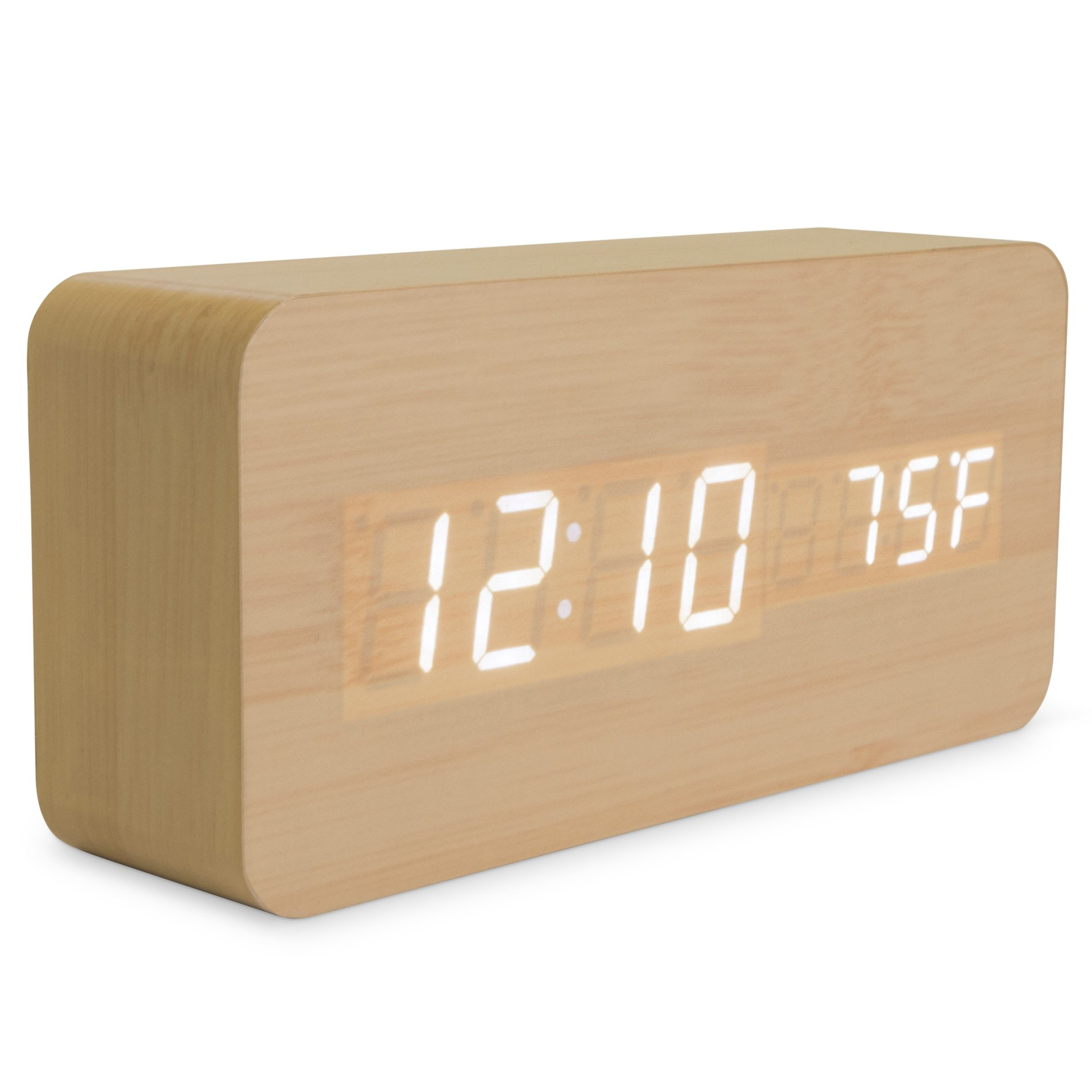 Bamboo Wood Digital Alarm Clock - 3-Level White LED Time, Date, Temperature Display - Sleek, Modern Design - Voice Control, 3 Alarms, USB - Portable Wooden Clocks for Bedroom, Bedside, Travel