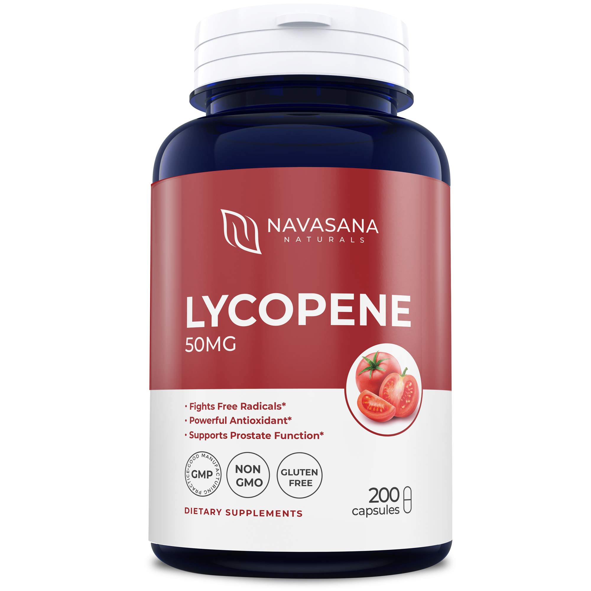 Lycopene 50MG - 200 Day Supply - 100% Natural Antioxidant - Non GMO - Gluten Free - Pure Tomato Extract for Cardiovascular Support, Prostate, Vision - 100% Risk Free Money Back Guarantee by Navasana Naturals