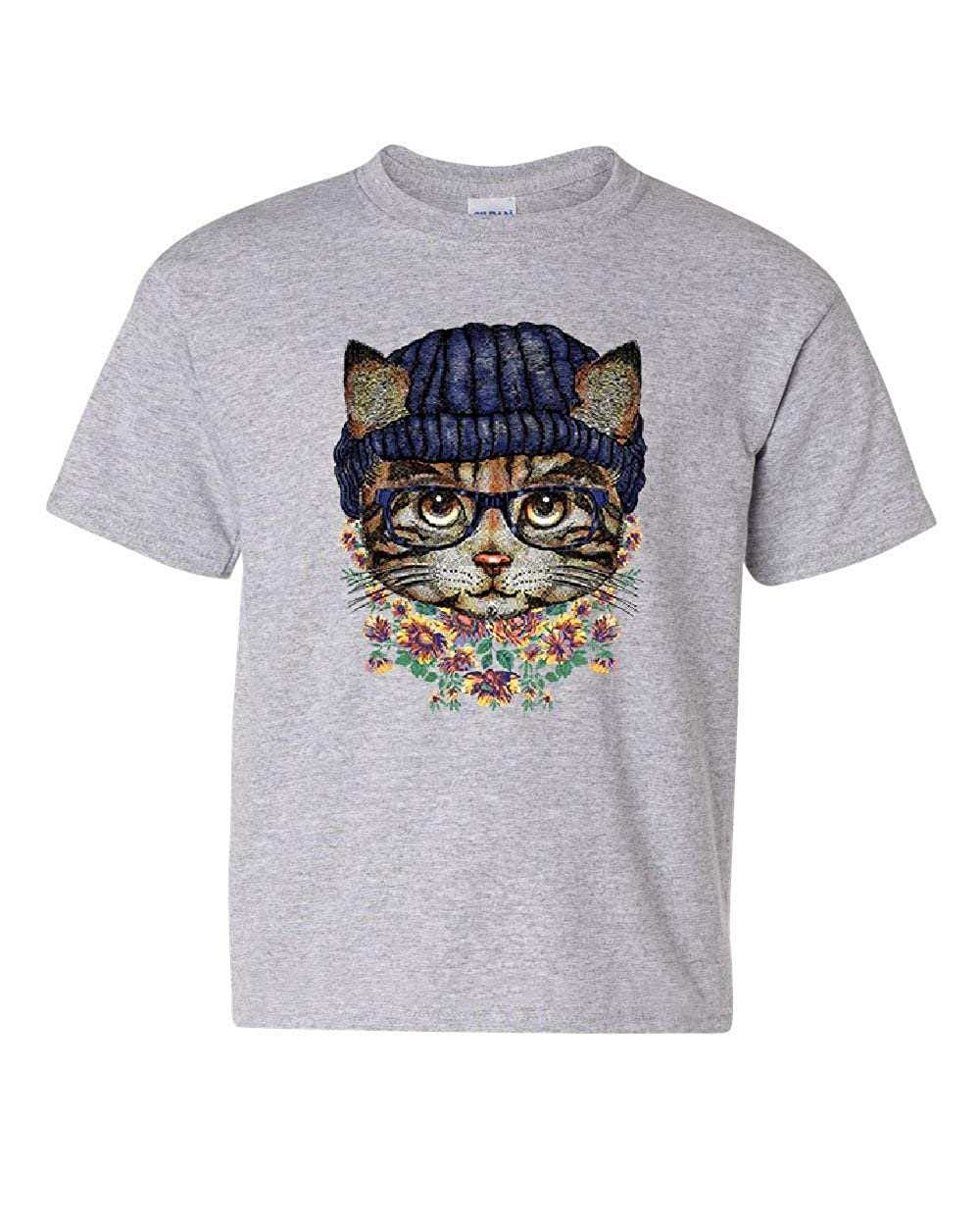 Hipster Kitty in Glasses Beanie Youth T-Shirt Cat Kitten Pop Culture Kids Tee