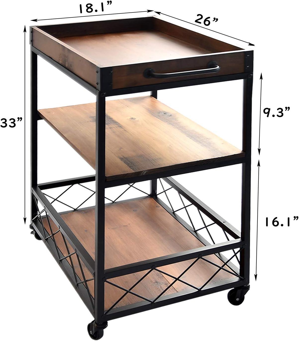 Rolling Kitchen cart Brown CharaVector Kitchen cart with 3 -Tier Shelves Practical Industrial Kitchen Bar/&Serving Cart,Metal Wine Rack Storage and Glass Bottle Holder