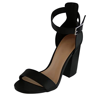 Cambridge Select Women's Single Band Ankle Strappy Chunky Stacked Heel Dress Sandal | Pumps