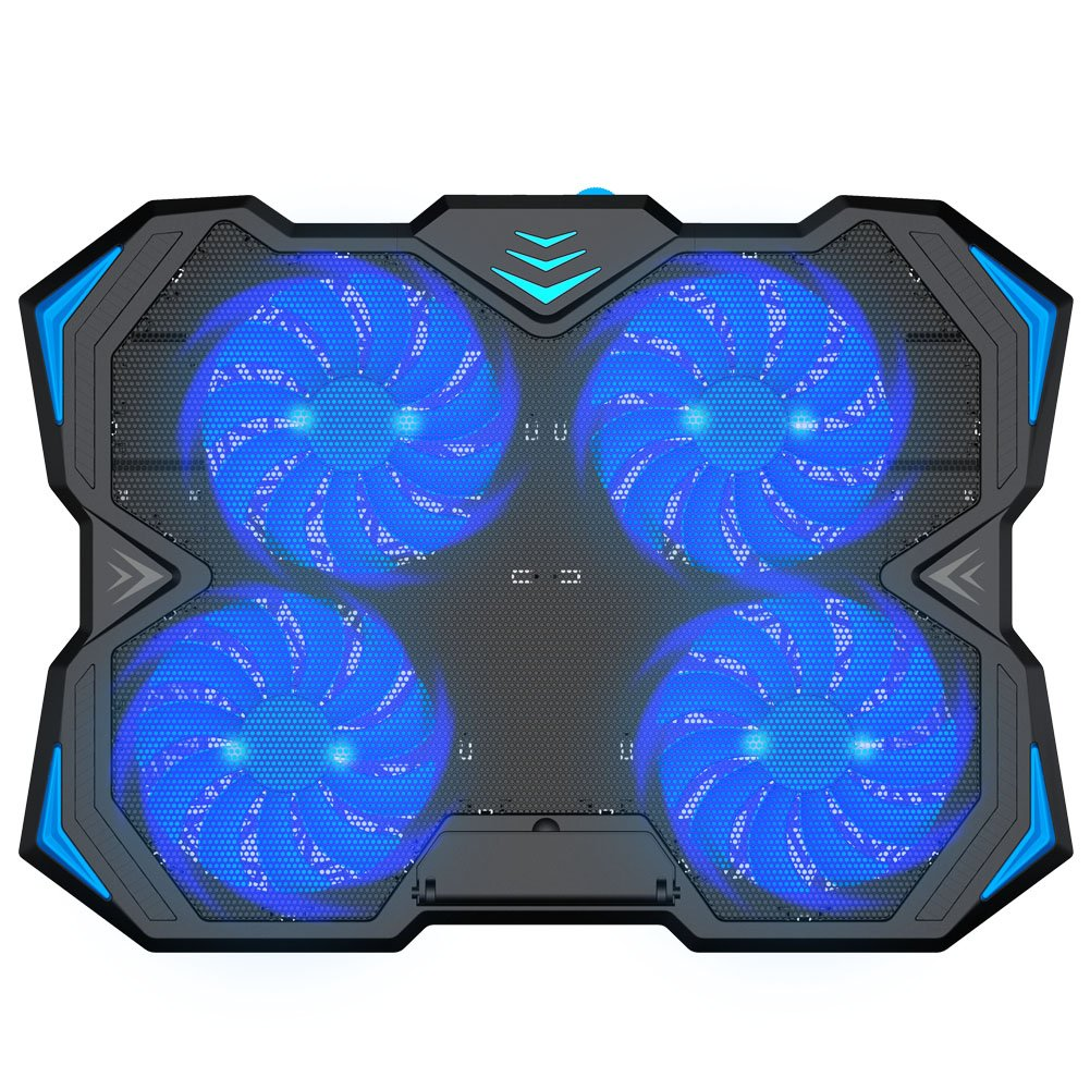 Kootek 12-17 Inch Laptop Cooling Pad, 4 Quiet Fans Cooler Chill Mat with Adjustable Speed Fan and 3 Height Mount Stand 2 USB Ports Chill Mats