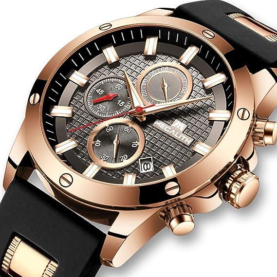 Relojes Hombre Relojes de Pulsera Impermeable Deportivo Cronógrafo  Luminosos Reloj Hombre Grandes Diseñador Lujo Calendario Analógico con  Correa de Goma  ... 4f4a32d37f1d