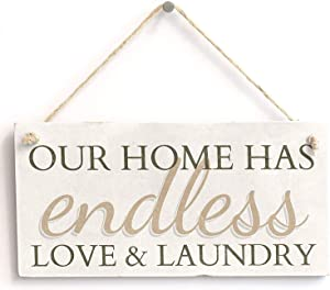 "Our Home Has Endless Love & Laundry Home Decor Hanging Laundry Room Sign 10""x5""(25x12.5 cm)"