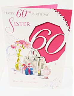 Happy 60th Birthday Greeting Card For Sister Traditional Age Milestone Luxury