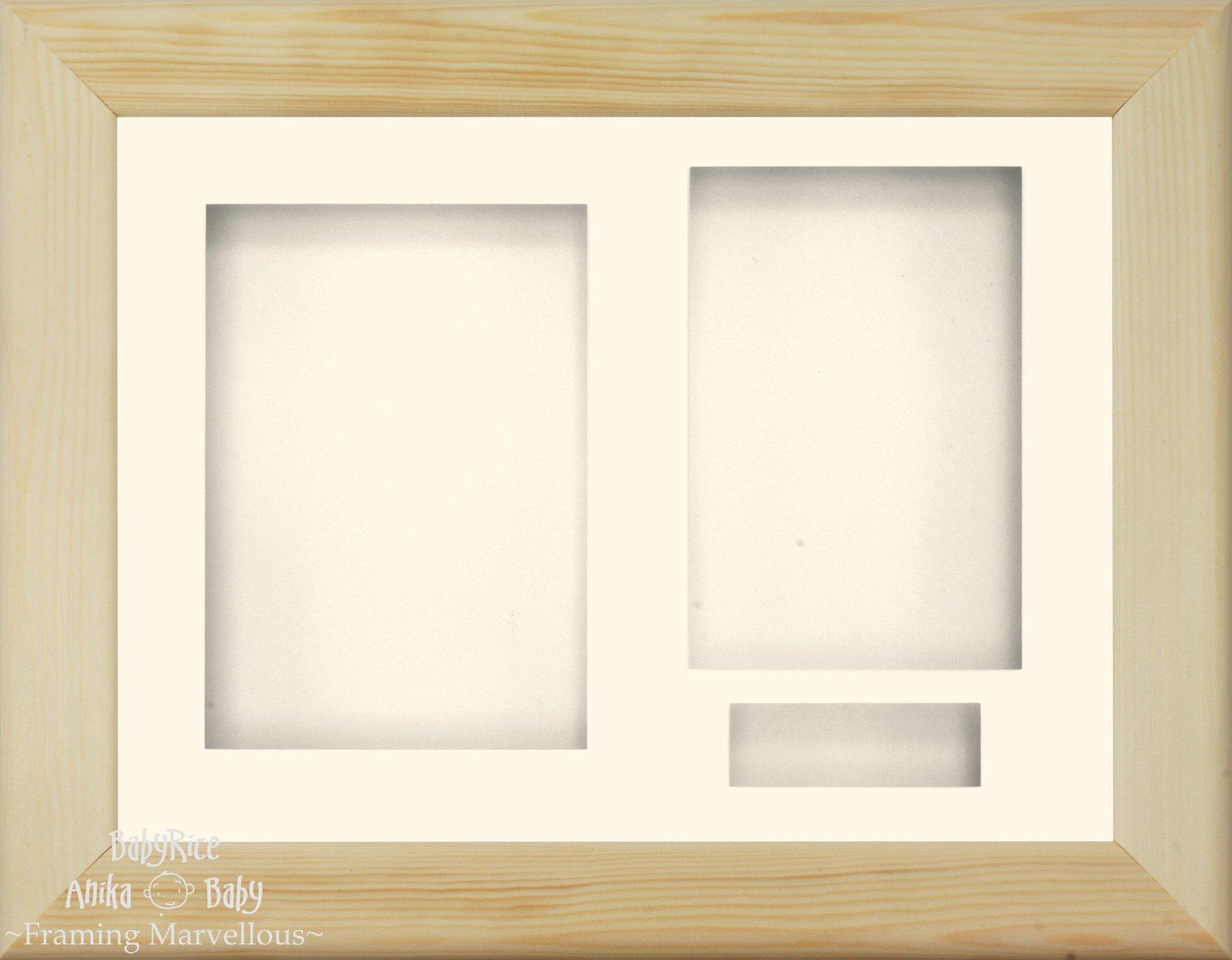 BabyRice 11.5x8.5'' Solid Oak Wood 3D Display Frame / Cream 3 hole mount & Backing by Anika-Baby (Image #1)