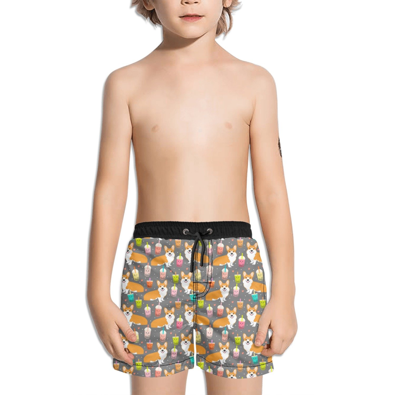 Trum Namii Boys Quick Dry Swim Trunks Cute Corgit Drinking Shorts