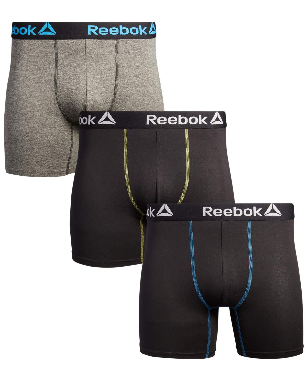 Reebok Men's Sport Soft Performance Boxer Briefs (3 Pack), Black/Medium Grey/Black, Size X-Large' by Reebok