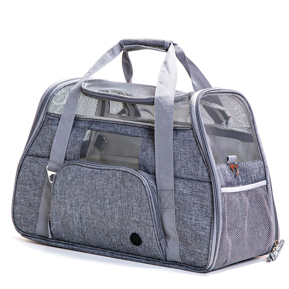 Grey JYMDH Large Fabric Cat Carrier Portable Mesh Breathable Dog Carrier Carry Bag Pet Travel Soft Puppy Carrier Foldable,Grey