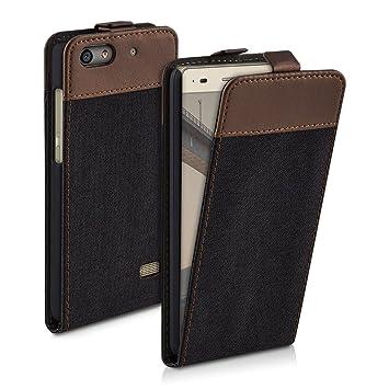 kwmobile Funda para Huawei G Play Mini - Carcasa de Cuero sintético y Tela - Case Plegable en Antracita/marrón