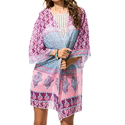 Myosotis510 Women's Sleeve Floral Chiffon Kimono Cardigan Blouse Rose at Women's Clothing store