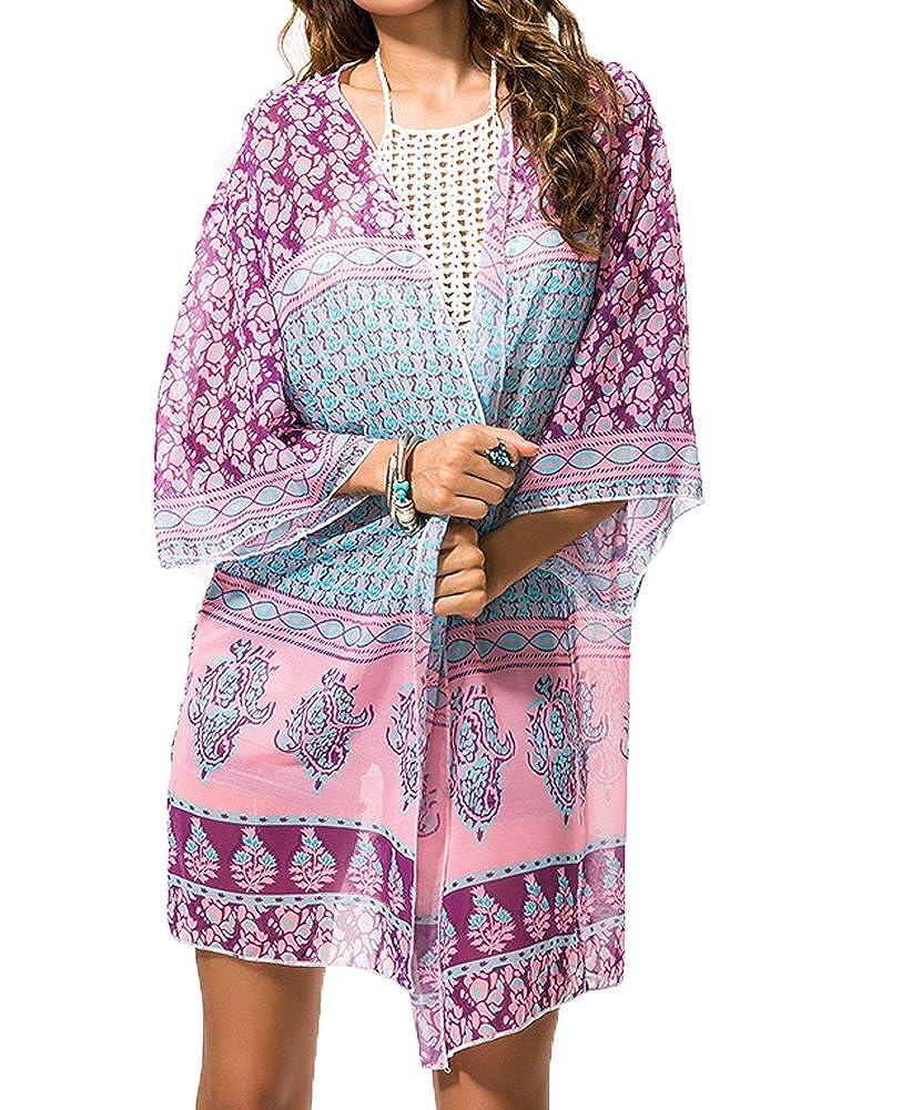 Myosotis510 Women's Sleeve Floral Chiffon Kimono Cardigan Blouse