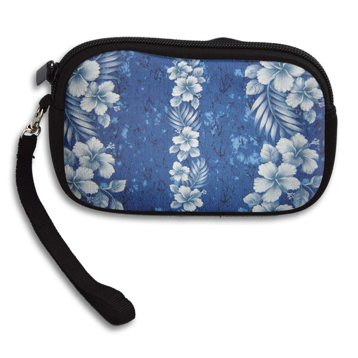 Small Purse Blue Hawaiian Flowers Cool Coin Wallets for Girls