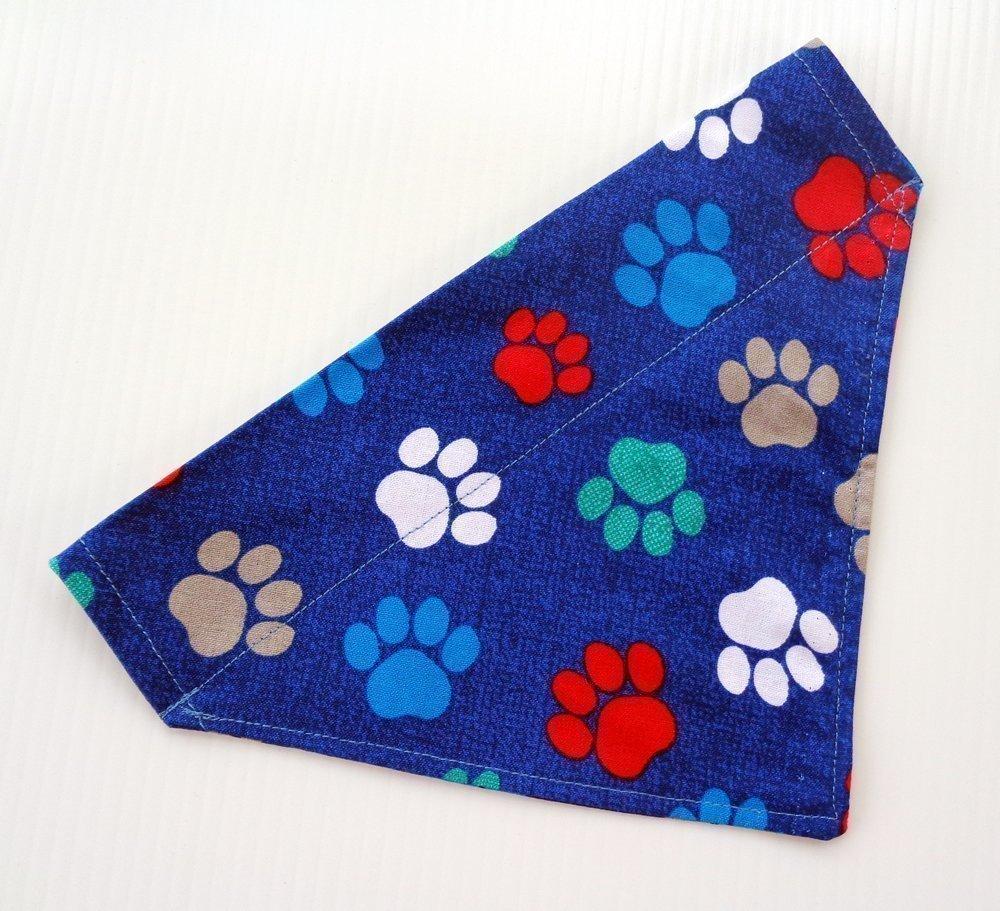 Paws Prints Slip On Thread Thru Over the Collar Reversible Dog Bandana, Petwear and Doggie Bib Accessories