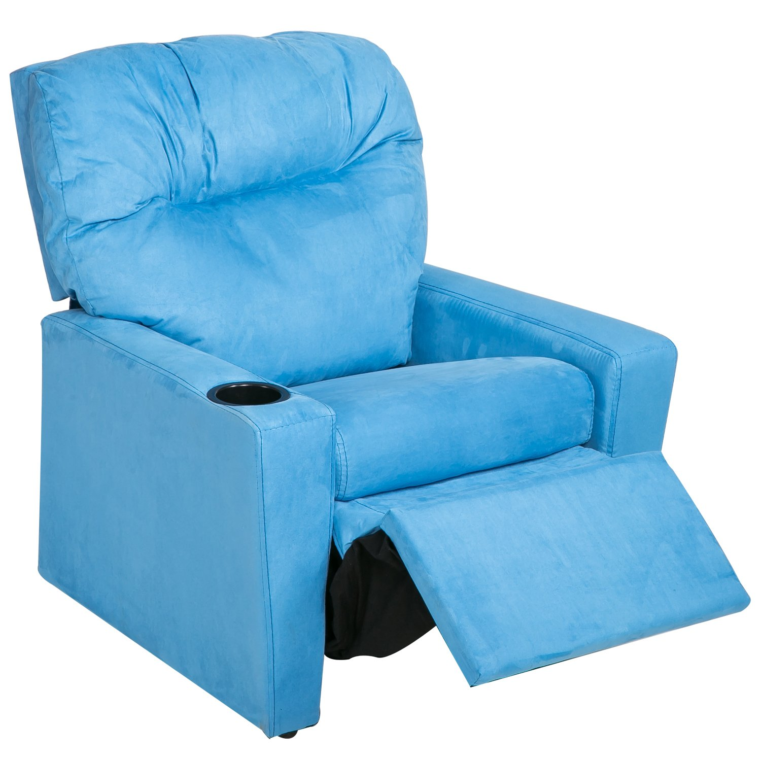 Harper&Bright Designs Kids Recliner with Cup Holder Fabric Sofa Chair for Child (Blue Fabric)