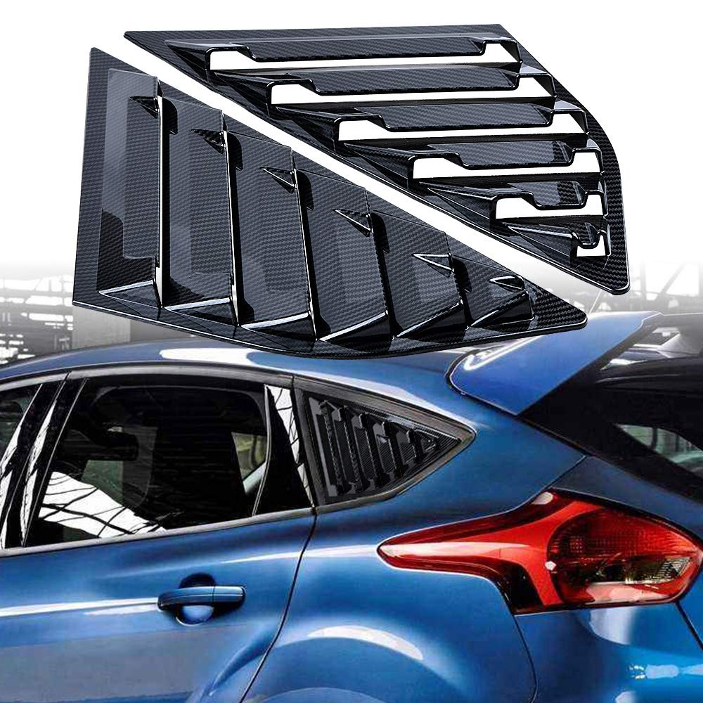 Carbon Fiber Pattern Astra DepotS 2PCS Window Side Louvers Vent ABS Car Side Window Cover for Ford Focus ST RS 2013-2018 Hatchback