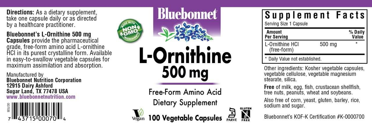 Bluebonnet l-ornithine 500 Mg Vitamin Capsules, 100Count