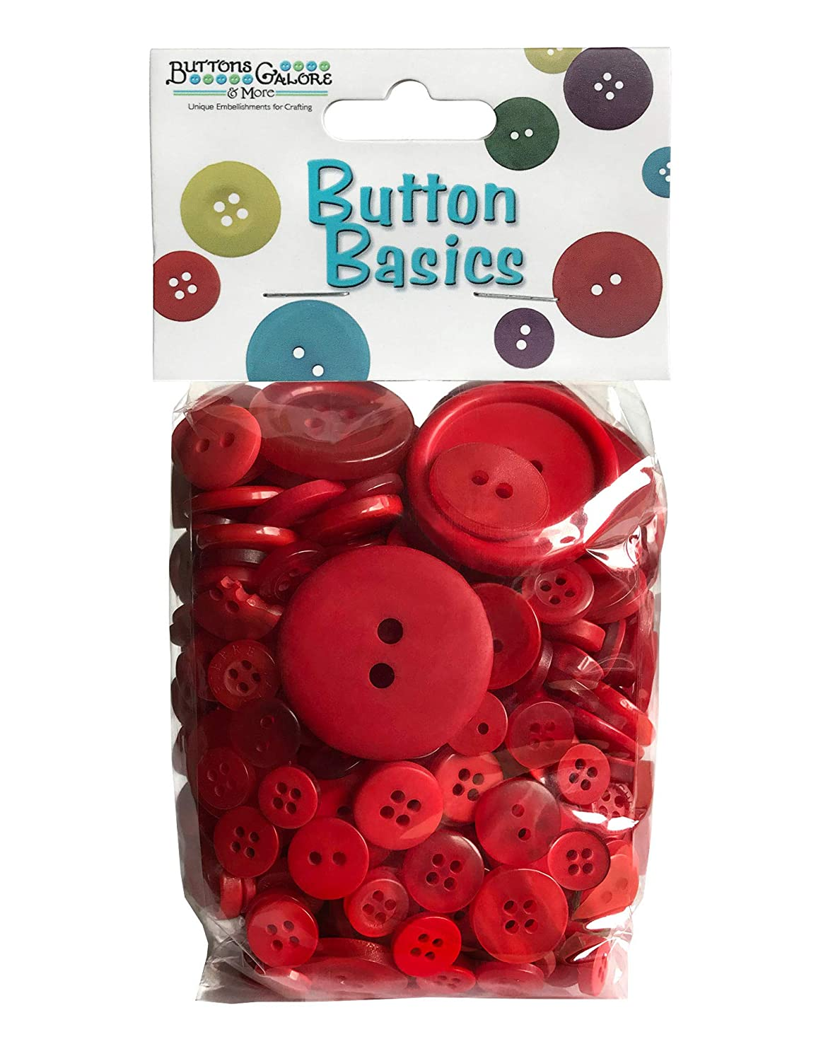 Buttons Galore Hand Dyed Buttons, 5.5-Ounce, Radically Red by Buttons Galore   B00B3I3GU4