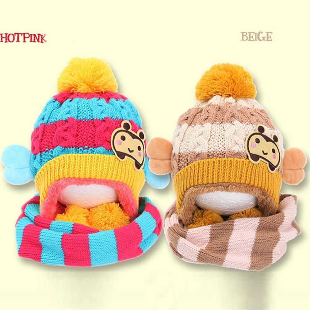 Molyveva Baby Winter Warm Bee Design Hat Scarf Woolen Hood Scarves Set
