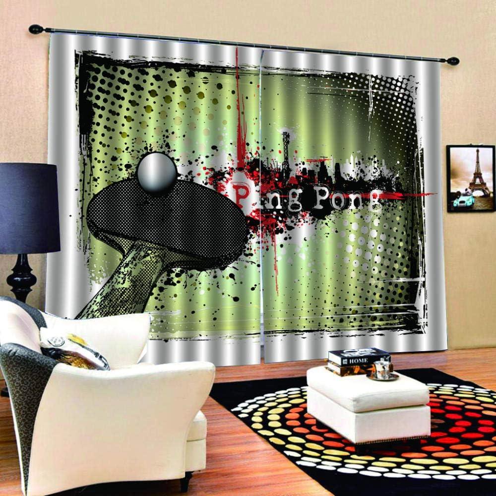 SKYZAHX Cortina Opaca 3D Tejido de Poliester - Ping Pong Ventana Cortinas Ventana para Sala De Cuarto de los niños para Decoración de la, 140x183cm