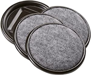 SoftTouch 4291295N Furniture Caster Cups Round with with Carpeted Bottom for Hard Floor Surfaces (4 Piece), 2-1/2 Inch, Grey