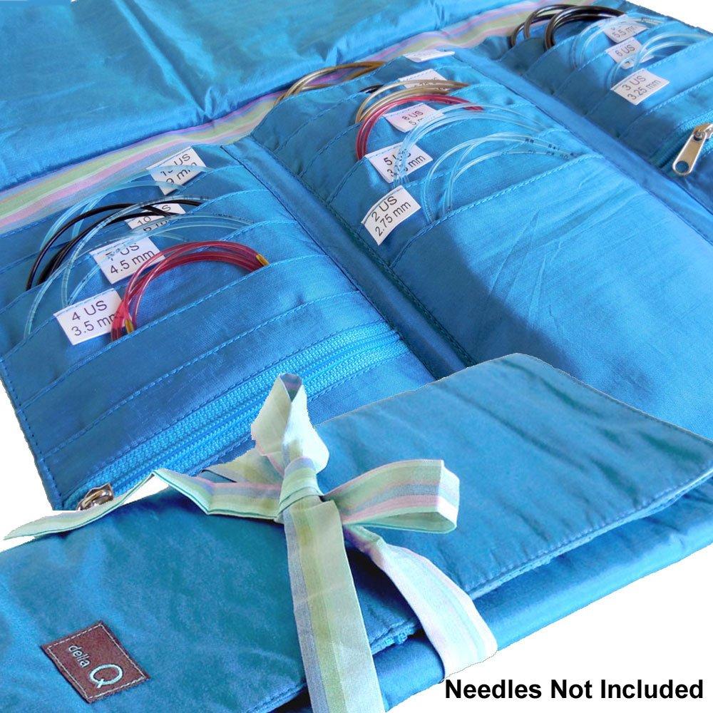 della Q Tri-Fold Knitting Case for Circular Knitting Needles; 017 Seafoam Stripes 1145-1-017