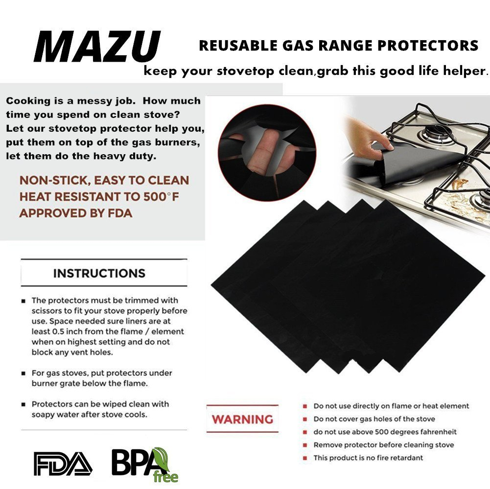 4 Pack Reusable Gas Range Protectors - Thick, Heat Resistant Fiberglass Mat with Adjustable Size - Safest On The Market | Non-Stick & Easy to Clean - Kitchen Friendly Cooking Accessory R5 by MAZU (Image #7)