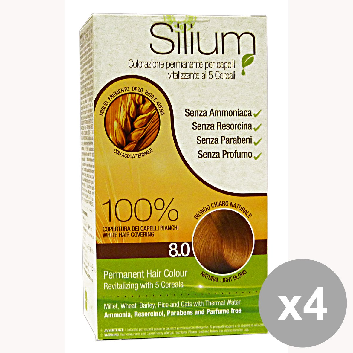 Silium Colorazione Permanente per Capeli Vitalizzante ai 5 Cereali 8.0 Biondo Chiaro Naturale - Pacco da 4 x 800 gr COLORSILIU80-KIT