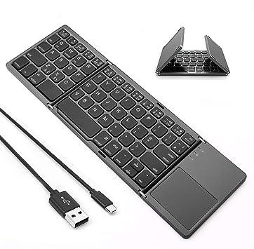 Teclado Bluetooth plegable, Jelly Comb recargable USB con cable e inalámbrico con teclado táctil Qwerty para tableta, ordenador, portátil, smartphone, ...
