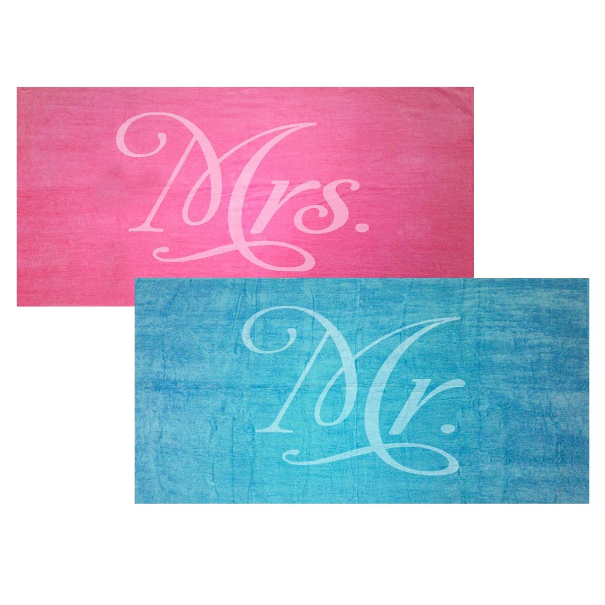 Classy Bride Mr. and Mrs. Beach Towel Set - Turquoise and Fuchsia